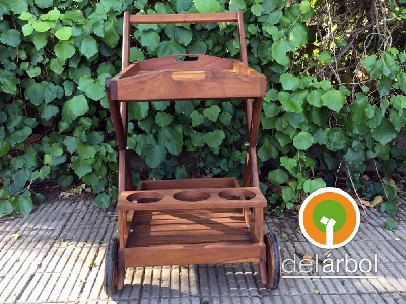 Carro bar de madera para jard n y exterior del for Carritos de madera para jardin