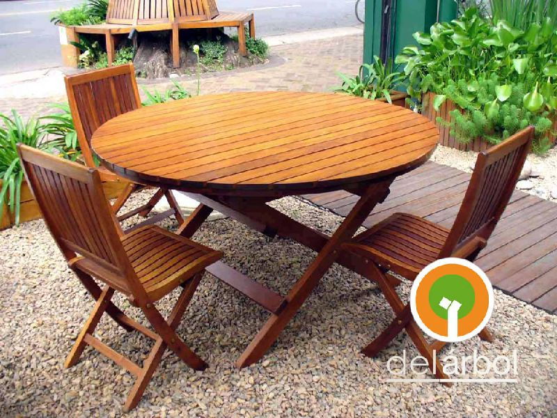 Mesa redonda de madera para jard n y exterior del arbol - Mesa redonda exterior ...