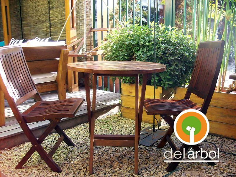 mesa redonda de madera para jardn y exterior