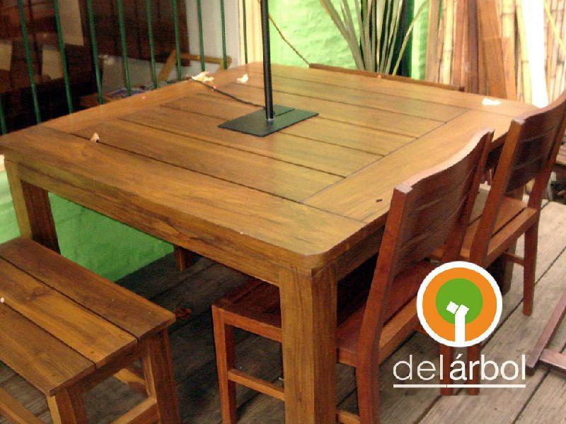 Mesa serge de madera para jard n y exterior del arbol - Mesa de madera exterior ...