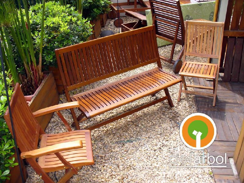 silla curva de madera para jardn y exterior