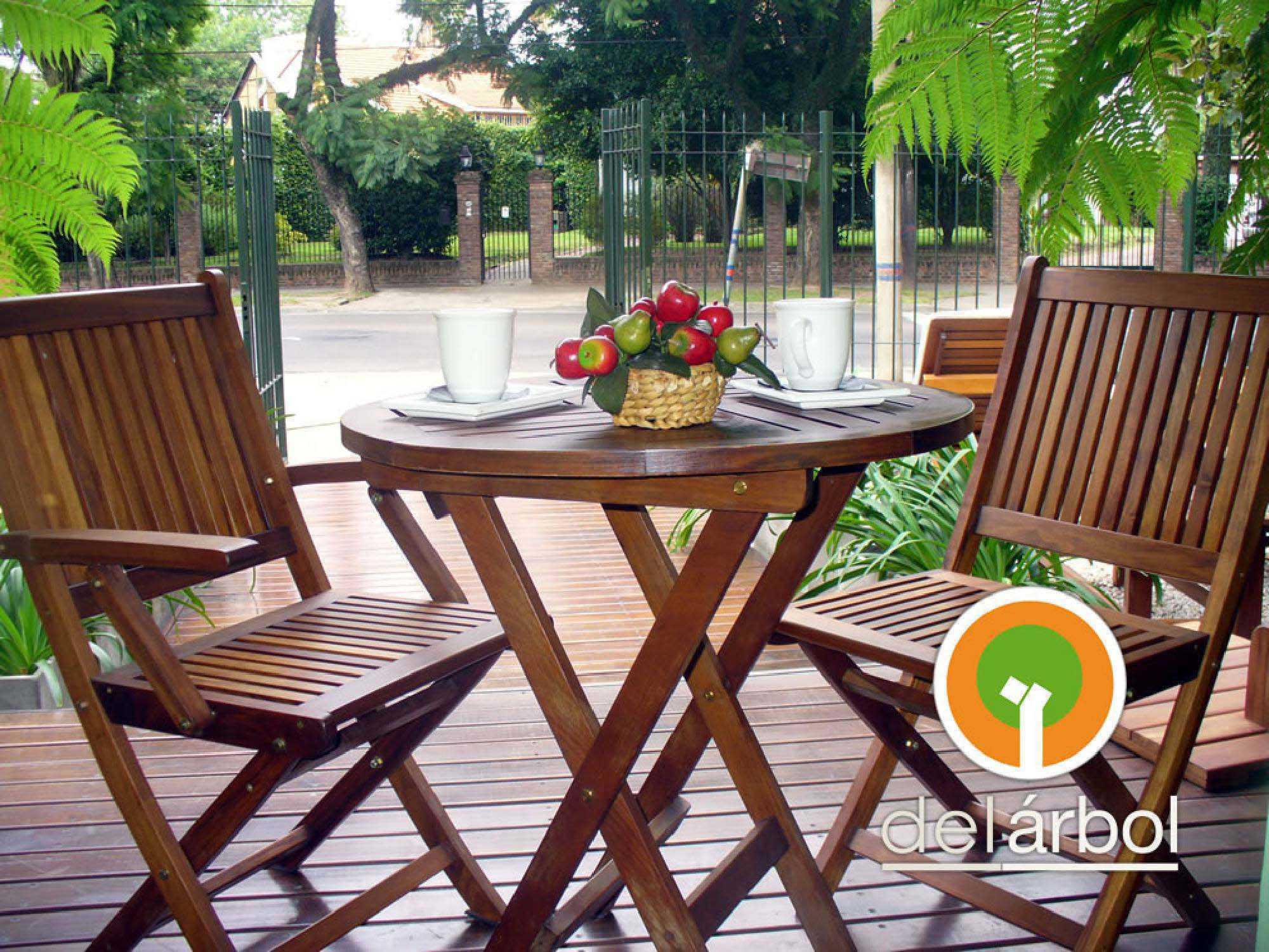 Silla carri de madera para jard n y exterior del arbol - Sillas madera jardin ...